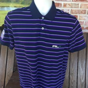 RLX Purple Striped Wimbledon Polo Size Medium